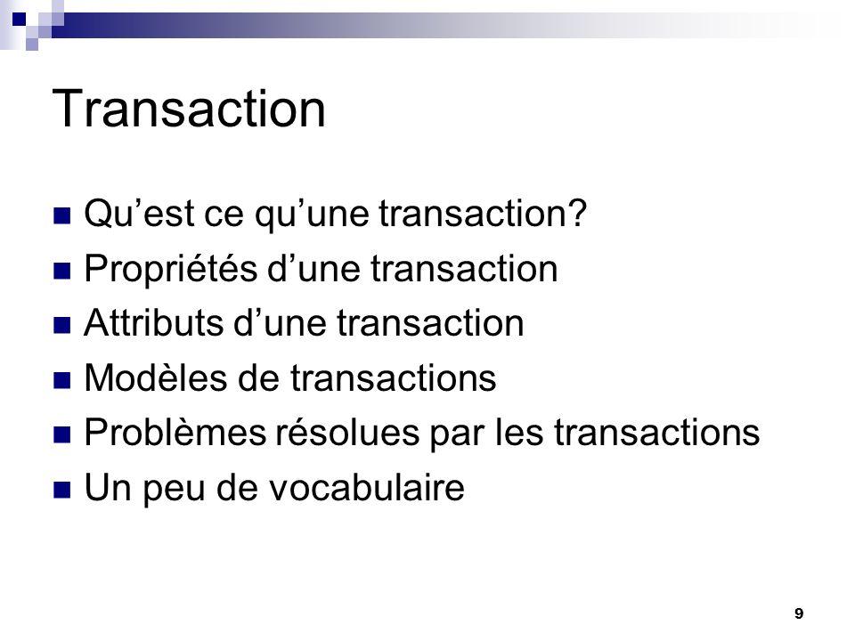 Transaction Qu'est ce qu'une transaction Propriétés d'une transaction