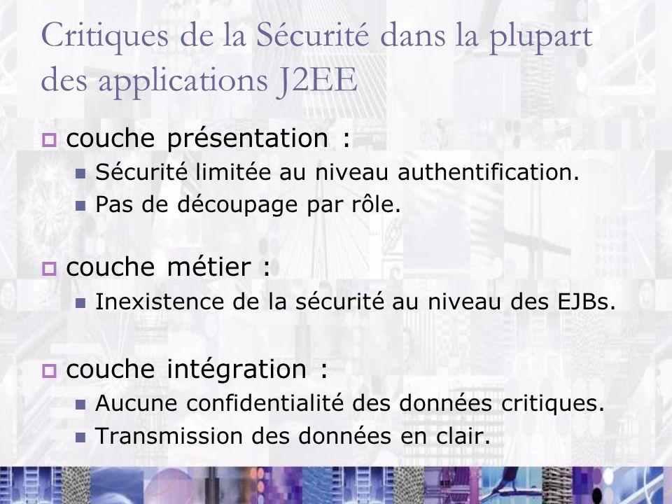 Critiques de la Sécurité dans la plupart des applications J2EE