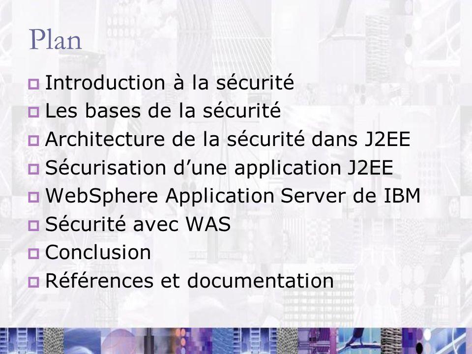 Plan Introduction à la sécurité Les bases de la sécurité