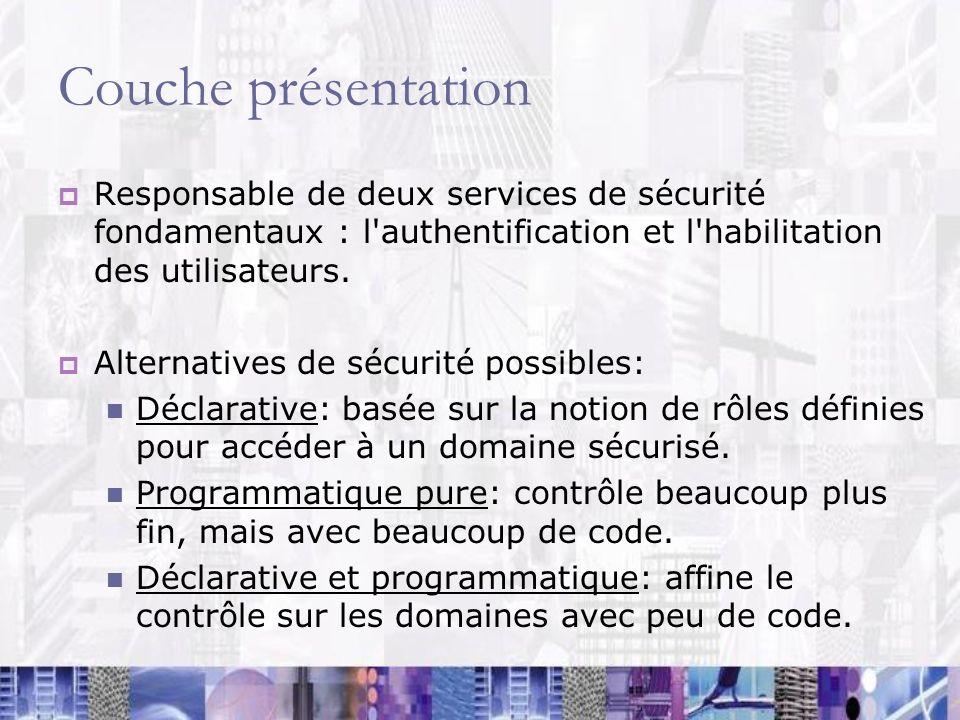Couche présentation Responsable de deux services de sécurité fondamentaux : l authentification et l habilitation des utilisateurs.