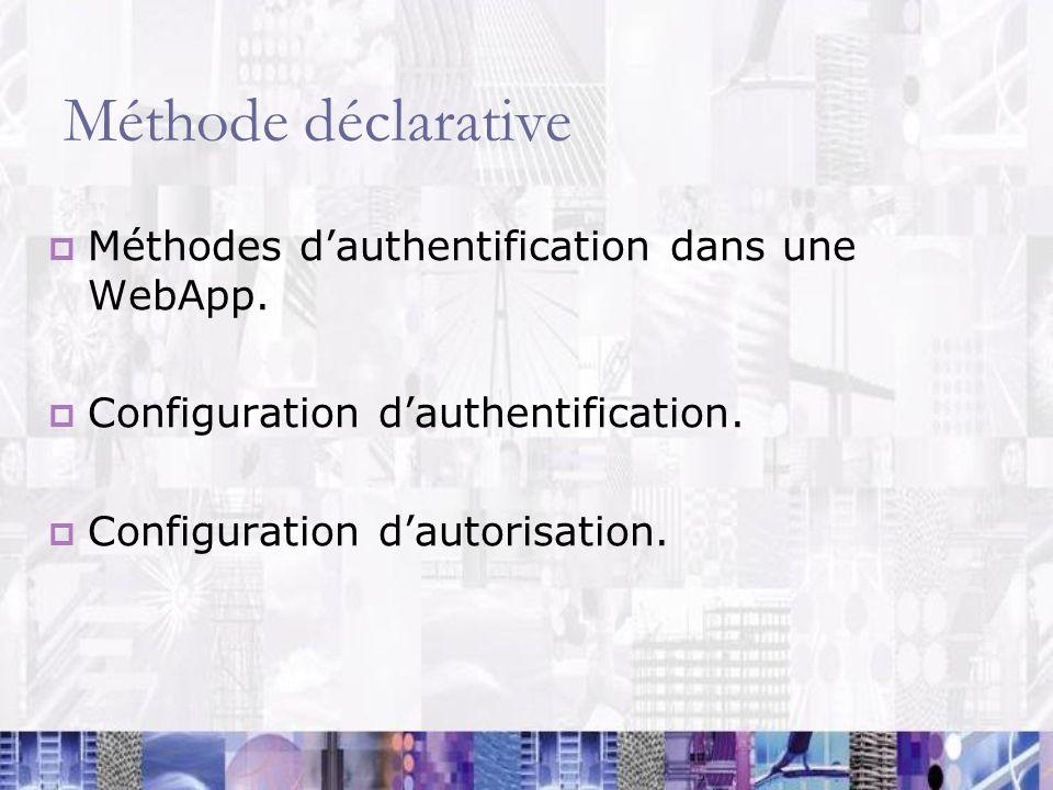 Méthode déclarative Méthodes d'authentification dans une WebApp.