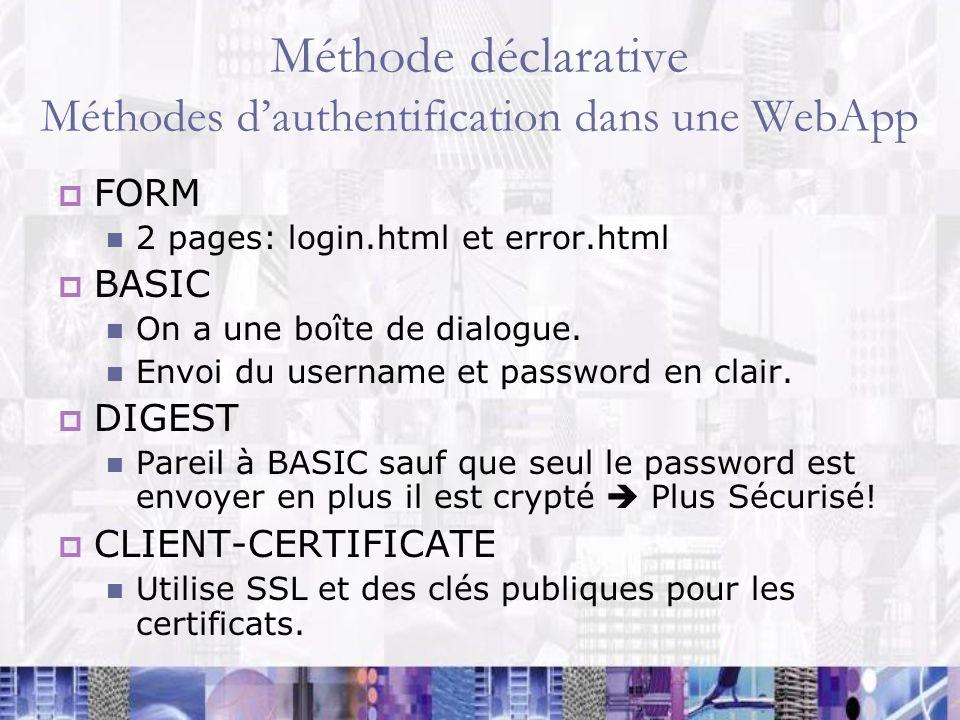 Méthode déclarative Méthodes d'authentification dans une WebApp