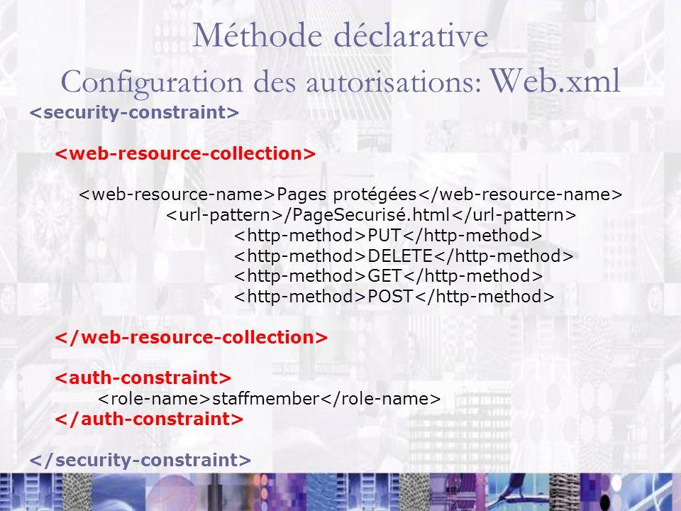 Méthode déclarative Configuration des autorisations: Web.xml