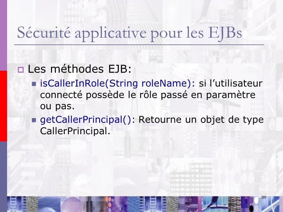 Sécurité applicative pour les EJBs