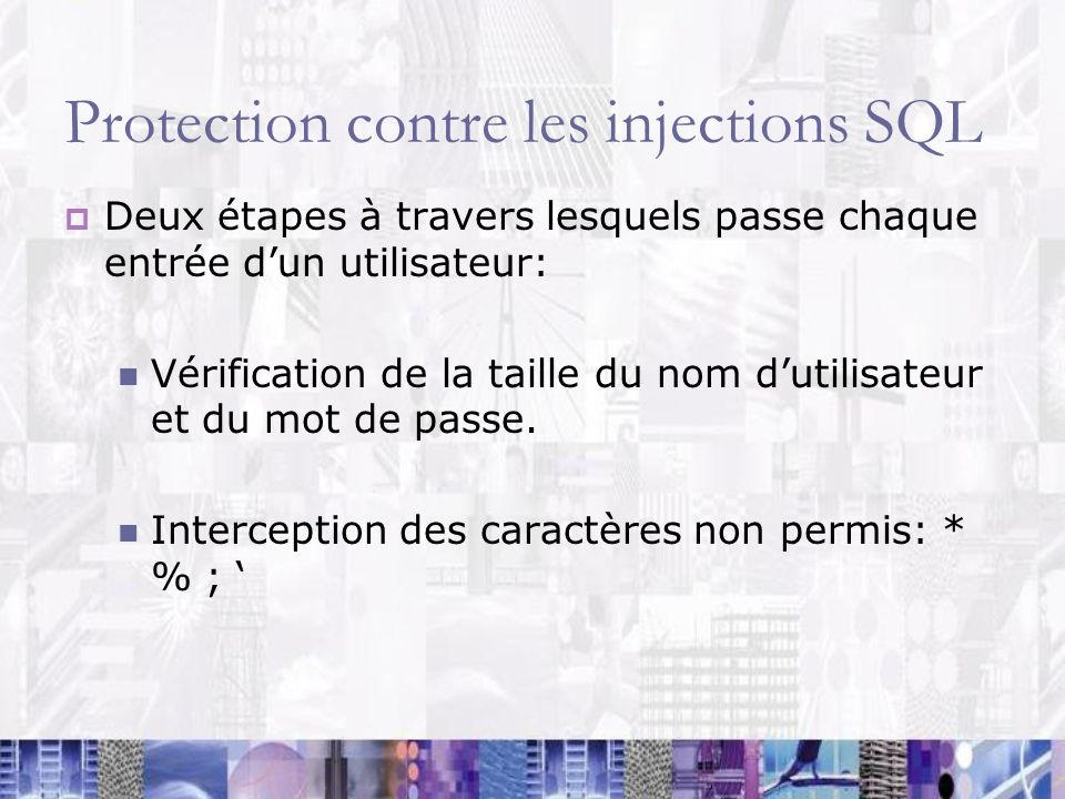 Protection contre les injections SQL