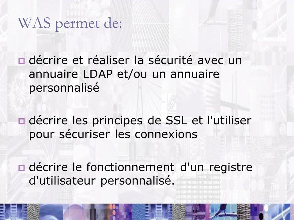 WAS permet de: décrire et réaliser la sécurité avec un annuaire LDAP et/ou un annuaire personnalisé.