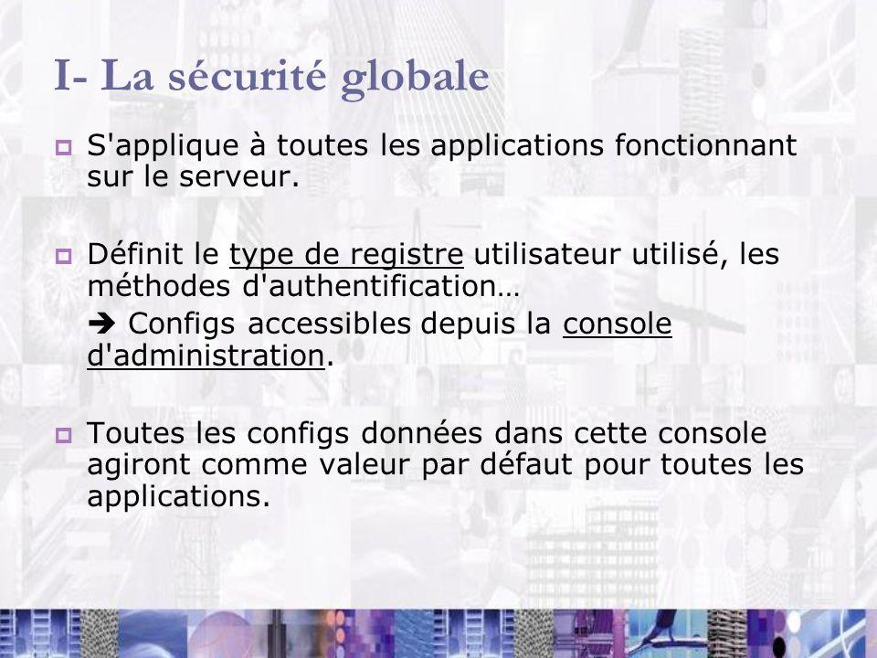 I- La sécurité globale S applique à toutes les applications fonctionnant sur le serveur.
