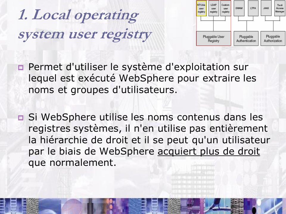 1. Local operating system user registry