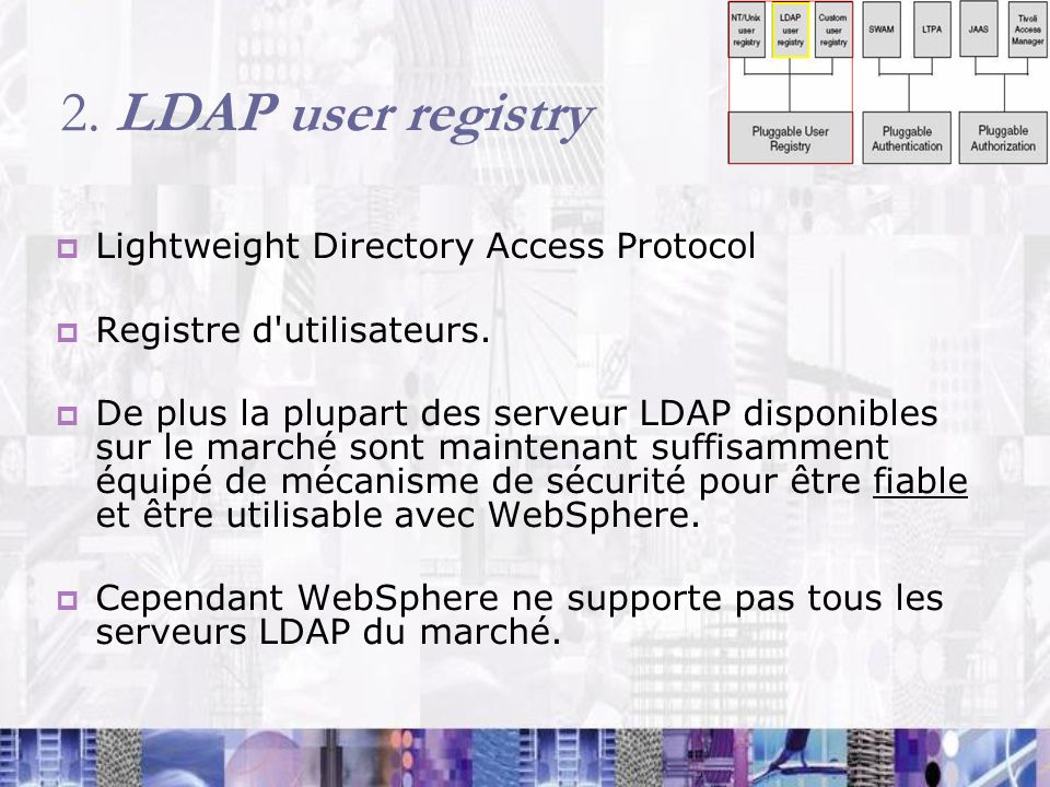 2. LDAP user registry Lightweight Directory Access Protocol