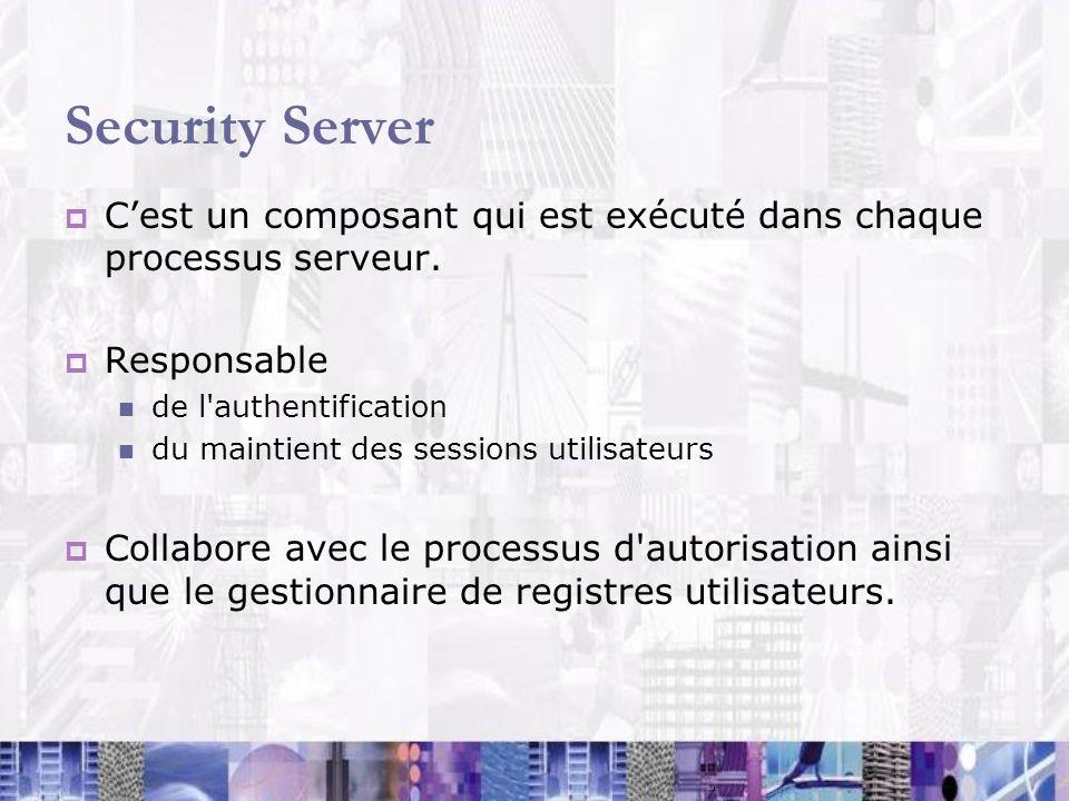 Security Server C'est un composant qui est exécuté dans chaque processus serveur. Responsable. de l authentification.