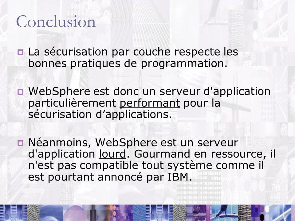 Conclusion La sécurisation par couche respecte les bonnes pratiques de programmation.