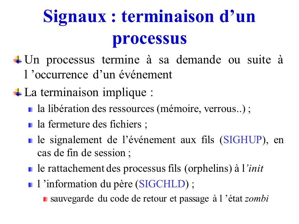 Signaux : terminaison d'un processus