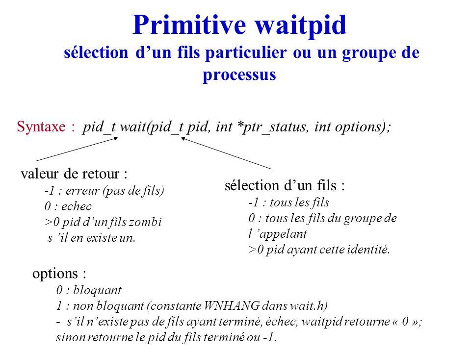 Primitive waitpid sélection d'un fils particulier ou un groupe de processus