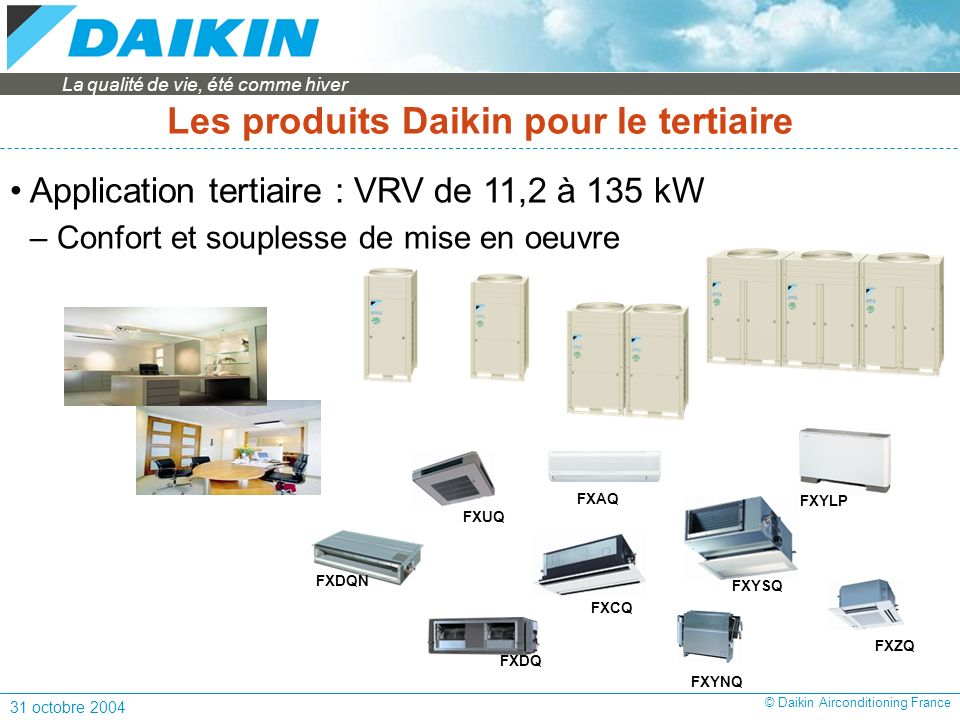 Les produits Daikin pour le tertiaire