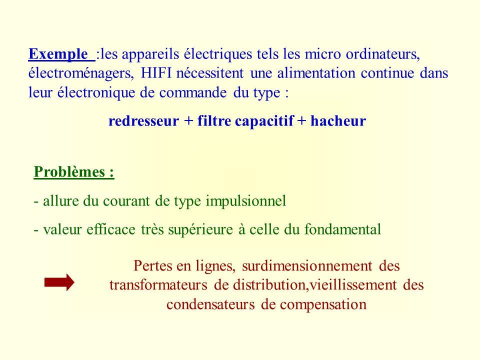 Exemple :les appareils électriques tels les micro ordinateurs, électroménagers, HIFI nécessitent une alimentation continue dans leur électronique de commande du type :