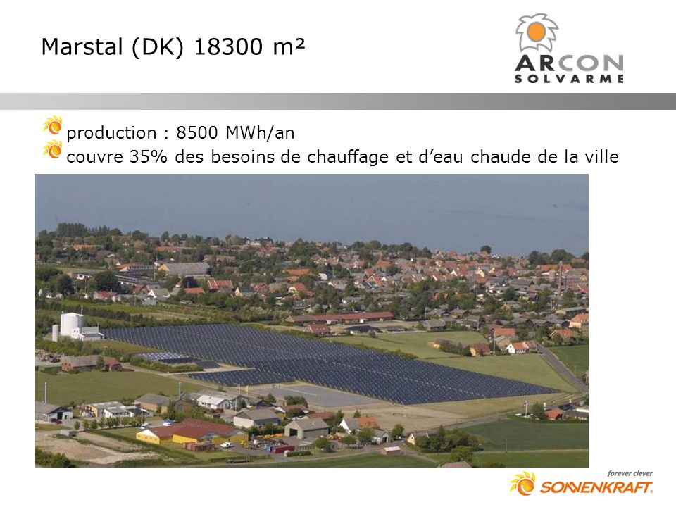 Marstal (DK) 18300 m² production : 8500 MWh/an