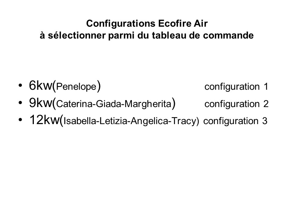 Configurations Ecofire Air à sélectionner parmi du tableau de commande