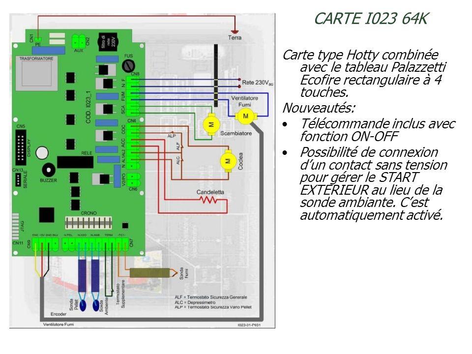 CARTE I023 64K Carte type Hotty combinée avec le tableau Palazzetti Ecofire rectangulaire à 4 touches.