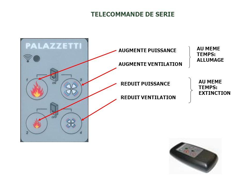 TELECOMMANDE DE SERIE AU MEME TEMPS: AUGMENTE PUISSANCE ALLUMAGE