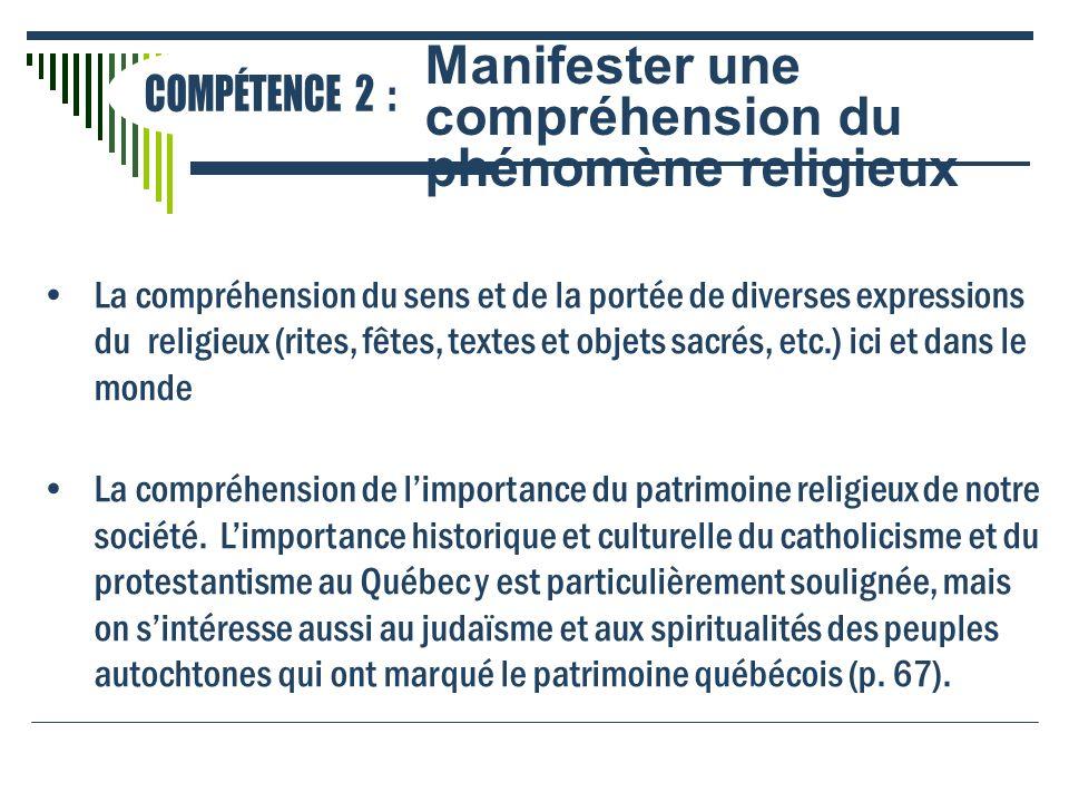 Manifester une compréhension du phénomène religieux COMPÉTENCE 2 :