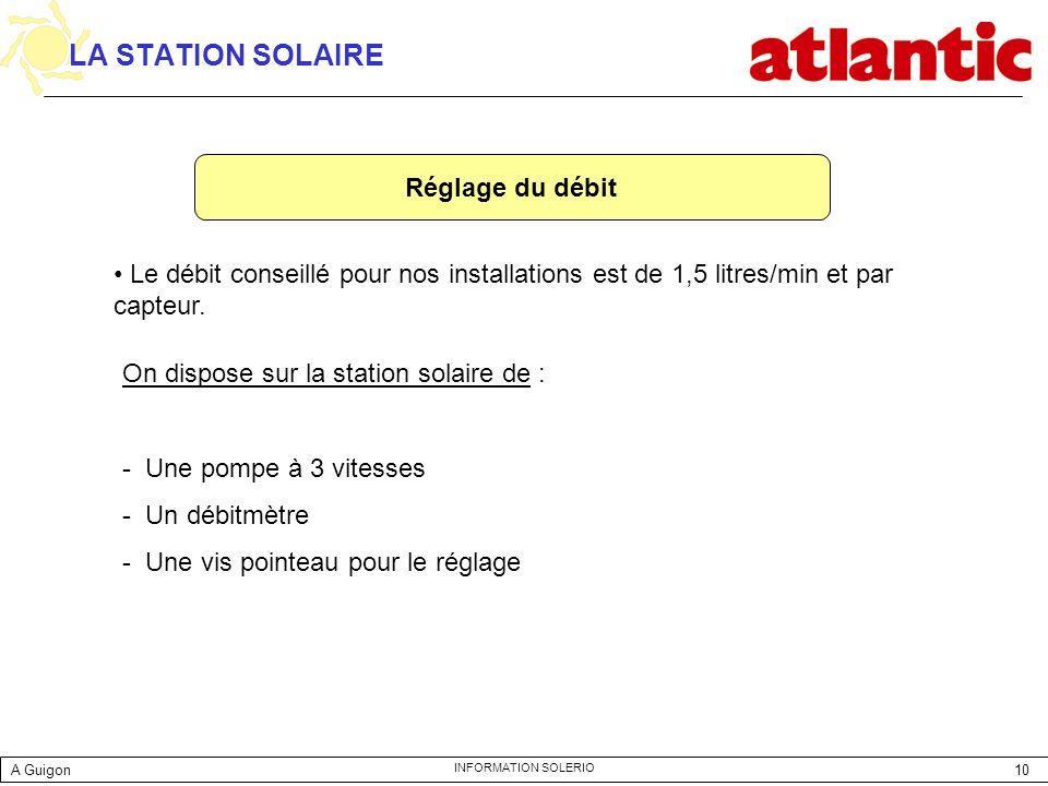 LA STATION SOLAIRE Réglage du débit