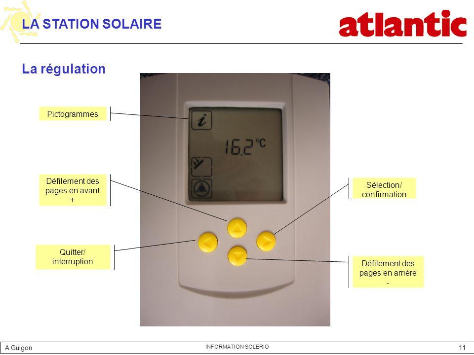 LA STATION SOLAIRE La régulation Pictogrammes