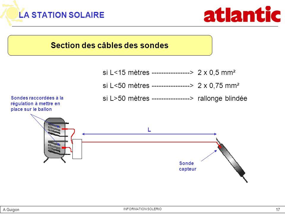 Section des câbles des sondes