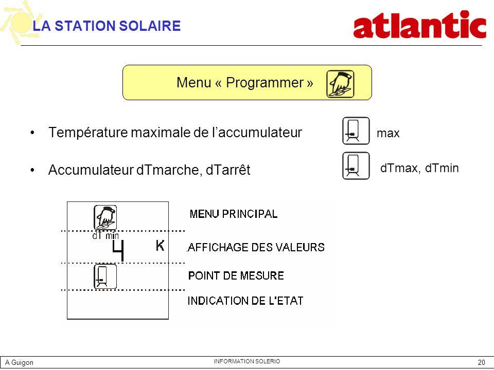 Température maximale de l'accumulateur Accumulateur dTmarche, dTarrêt