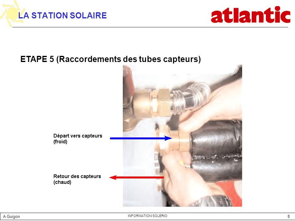 ETAPE 5 (Raccordements des tubes capteurs)