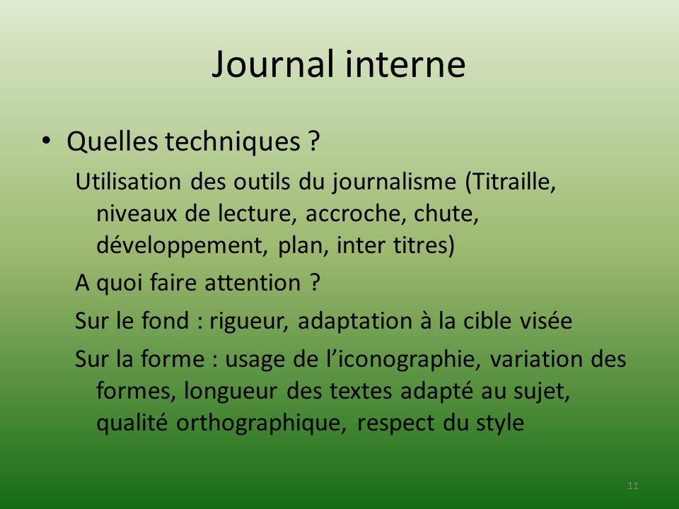 Journal interne Quelles techniques