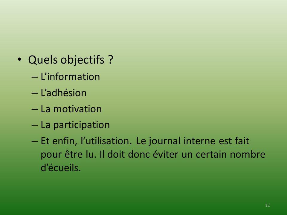 Quels objectifs L'information L'adhésion La motivation