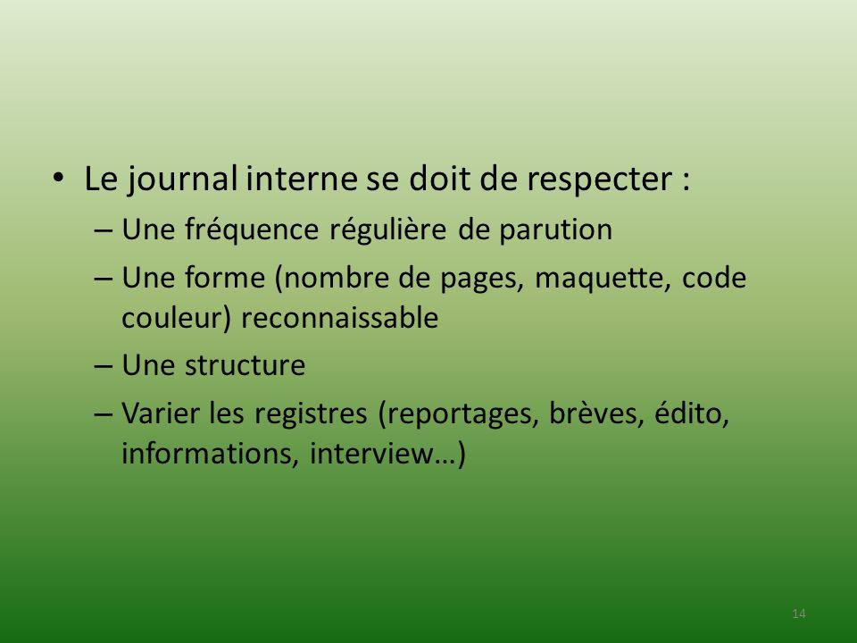 Le journal interne se doit de respecter :