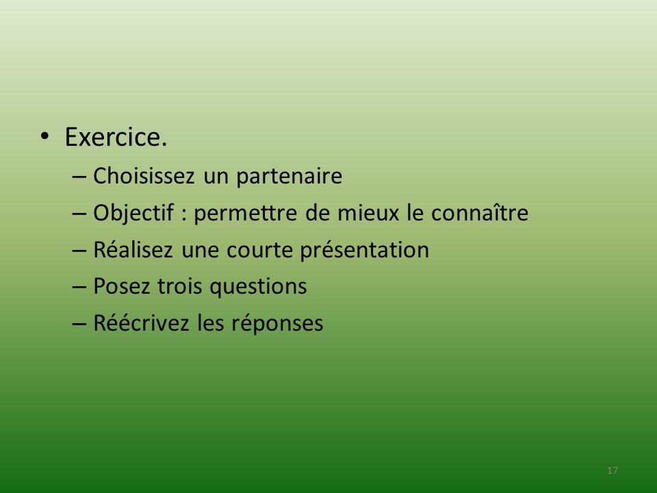 Exercice. Choisissez un partenaire
