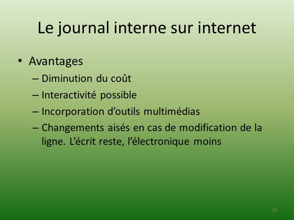 Le journal interne sur internet