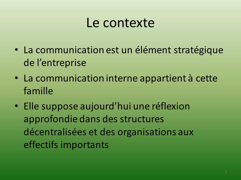 Le contexte La communication est un élément stratégique de l'entreprise. La communication interne appartient à cette famille.