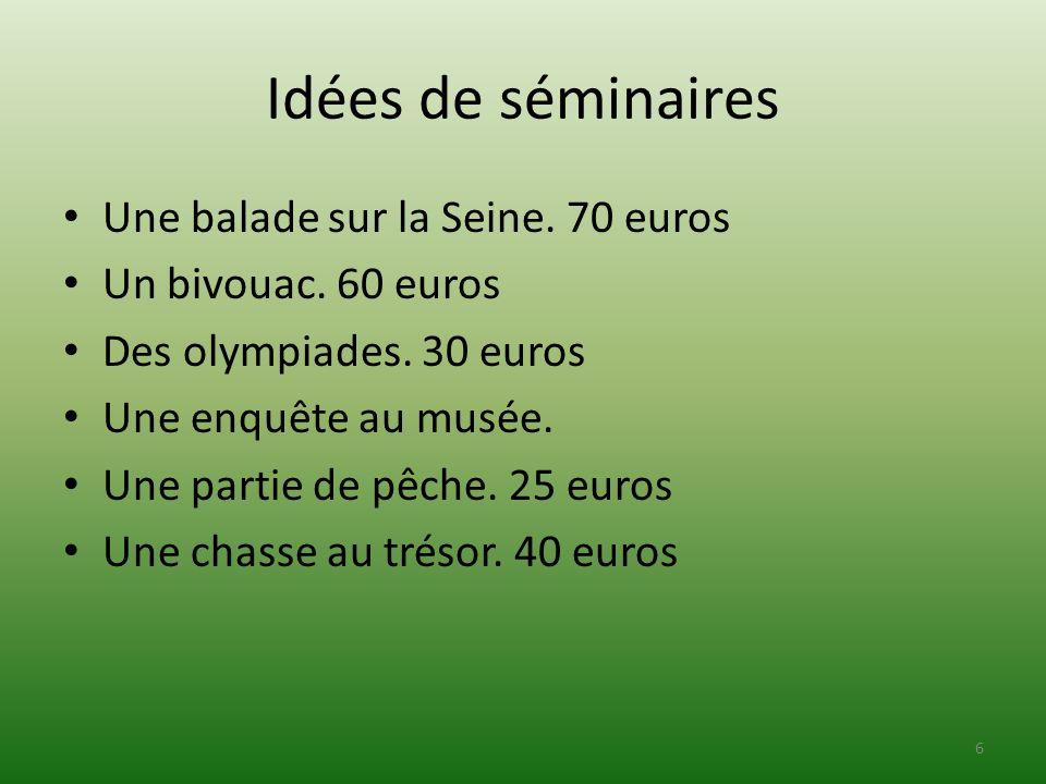 Idées de séminaires Une balade sur la Seine. 70 euros
