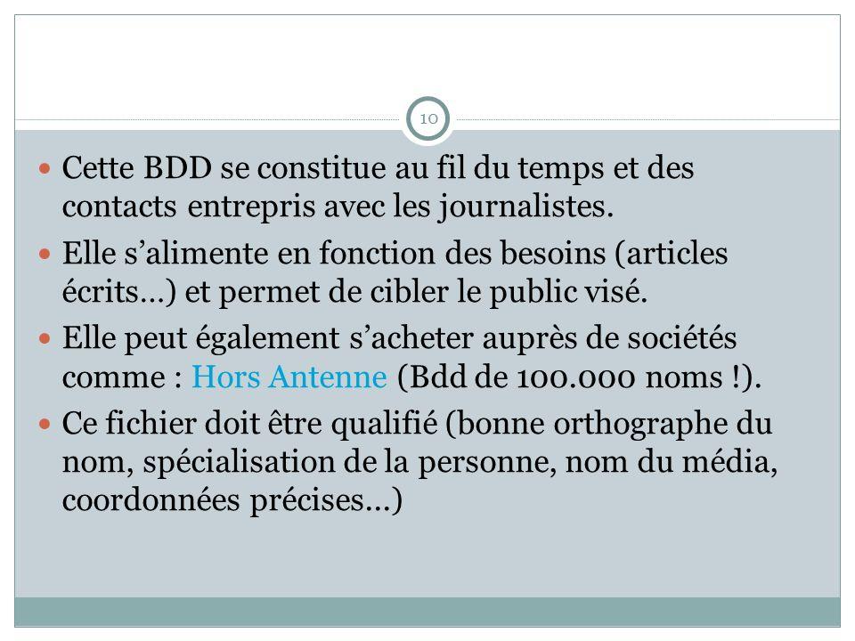 10 Cette BDD se constitue au fil du temps et des contacts entrepris avec les journalistes.