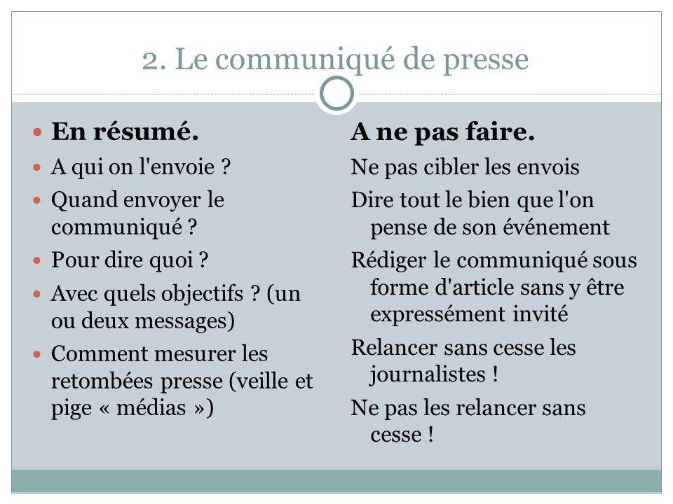 2. Le communiqué de presse