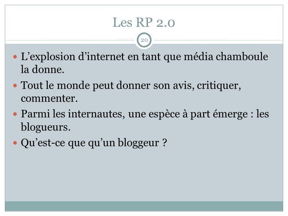 Les RP 2.0 20. L'explosion d'internet en tant que média chamboule la donne. Tout le monde peut donner son avis, critiquer, commenter.