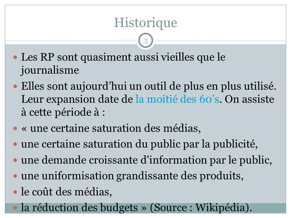 Historique Les RP sont quasiment aussi vieilles que le journalisme