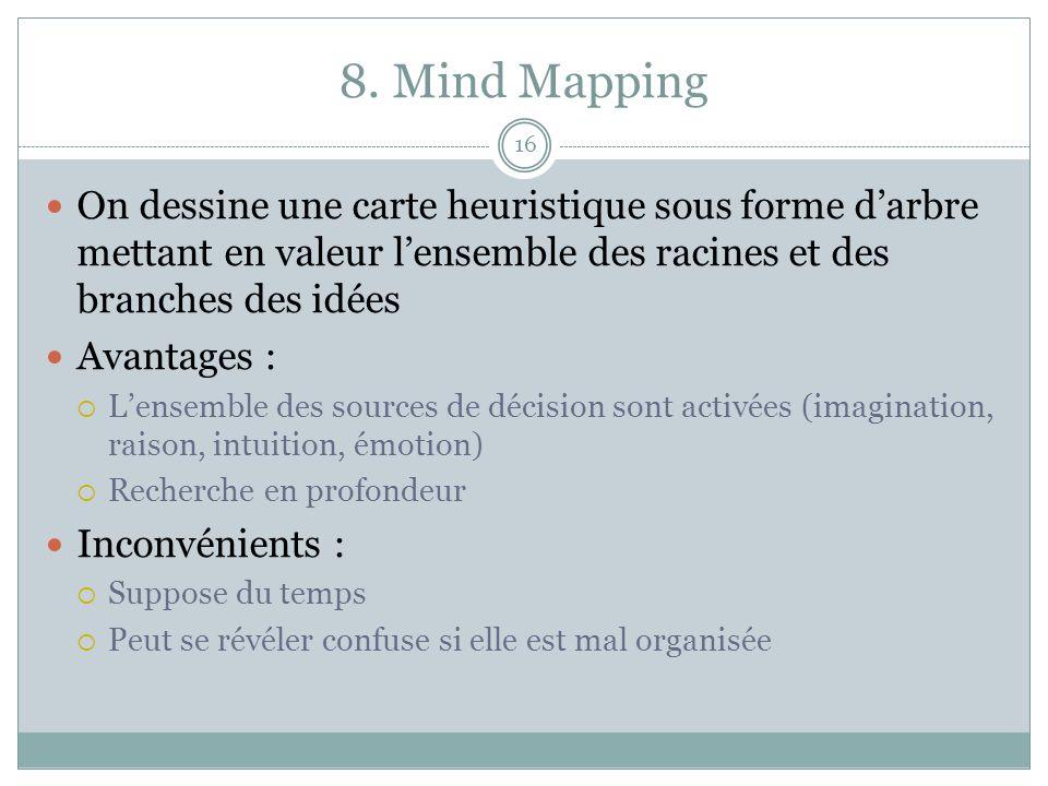 8. Mind Mapping On dessine une carte heuristique sous forme d'arbre mettant en valeur l'ensemble des racines et des branches des idées.