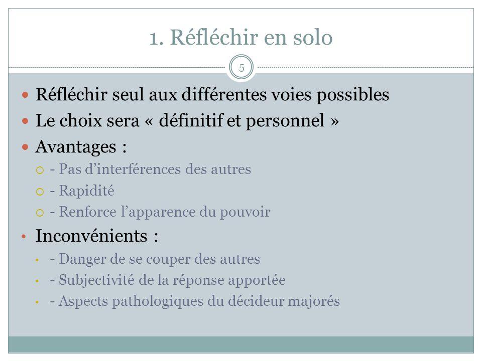 1. Réfléchir en solo Réfléchir seul aux différentes voies possibles