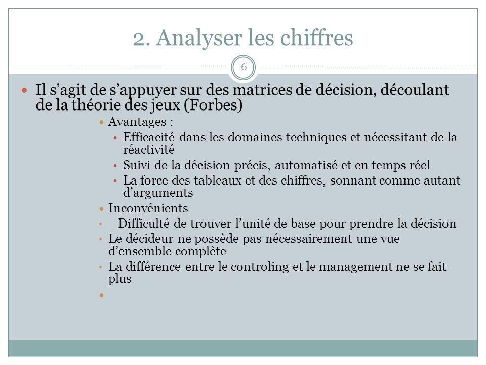 2. Analyser les chiffres Il s'agit de s'appuyer sur des matrices de décision, découlant de la théorie des jeux (Forbes)