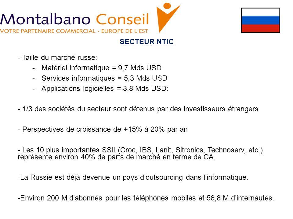 SECTEUR NTIC - Taille du marché russe: Matériel informatique = 9,7 Mds USD. Services informatiques = 5,3 Mds USD.