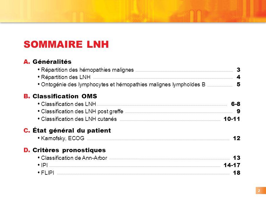 SOMMAIRE LNH A. Généralités B. Classification OMS