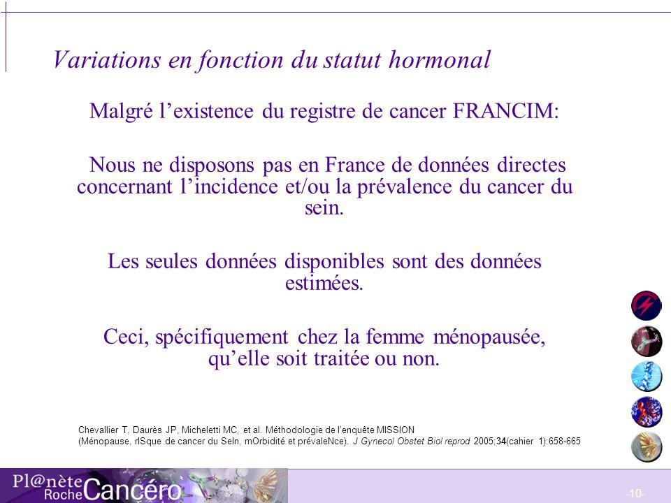 Variations en fonction du statut hormonal