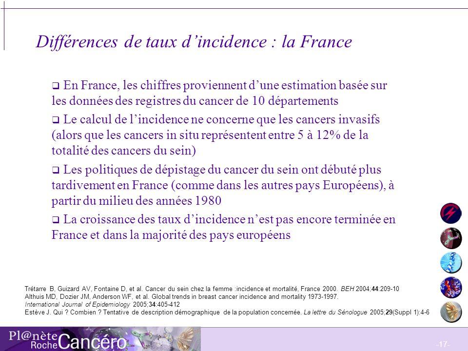 Différences de taux d'incidence : la France