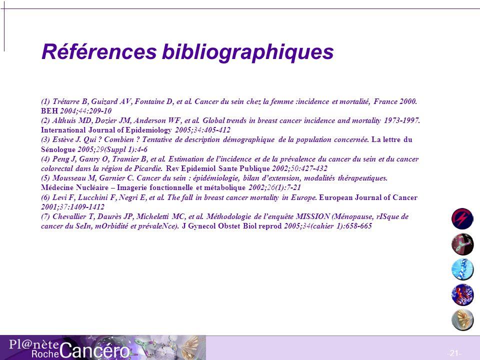 Références bibliographiques (1) Trétarre B, Guizard AV, Fontaine D, et al.