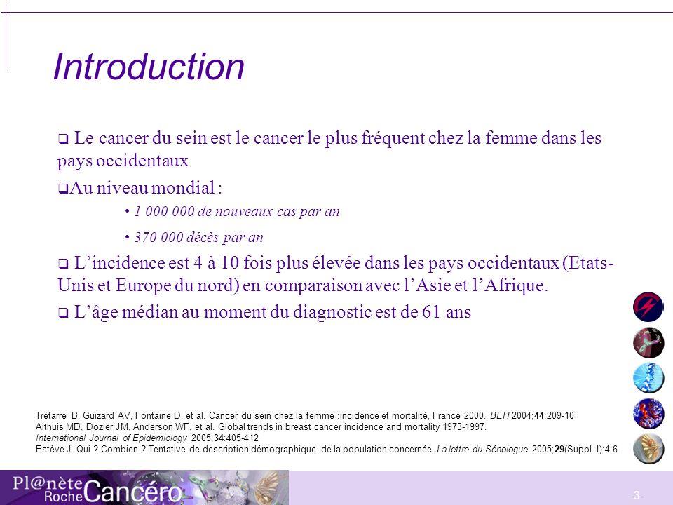 IntroductionLe cancer du sein est le cancer le plus fréquent chez la femme dans les pays occidentaux.