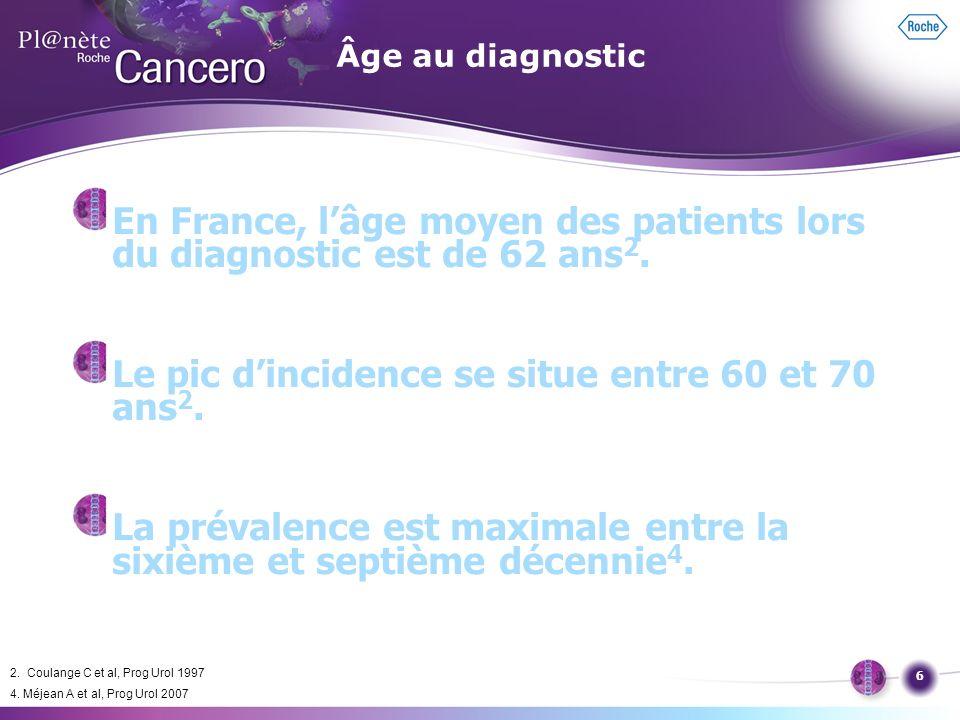 En France, l'âge moyen des patients lors du diagnostic est de 62 ans2.